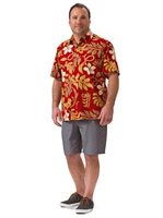 Kai Clothing Plumeria Pareo Red Cotton Men's Hawaiian Shirt