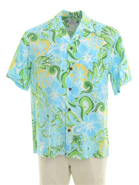 bd11ef754 Two Palms Tropical blooming Turquoise Rayon Men's Hawaiian Shirt ...