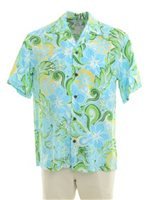 Two Palms Tropical blooming Turquoise Rayon Men's Hawaiian Shirt