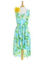 Two Palms Tropical blooming Turquoise Rayon Hawaiian Hi-Low Midi Dress