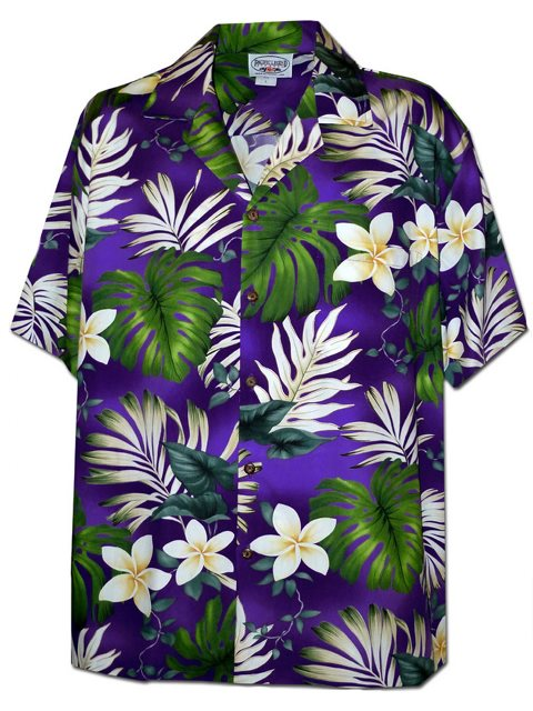 c2a8fbaa Pacific Legend Plumeria & Monstera Purple Cotton Men's Hawaiian Shirt