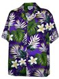 Pacific Legend Plumeria & Monstera Purple Cotton Men's Hawaiian Shirt