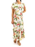 [Exclusive] Two Palms Sonic Beige Rayon Hawaiian Long Dress