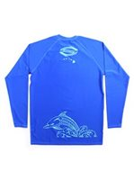 SeaHawaii Tribal Dolphin Lagoon Blue Monkskin Rash Guard [20% OFF]