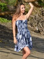 Sarong King chrysanthemum Navy Secret Beach Signature Short Dress