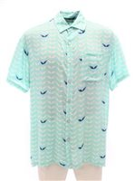 Angels by the Sea Angel's Wing Aqua Rayon Men's Hawaiian Shirt