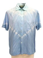 Angels by the Sea Tie Dye Blue Rayon Men's Hawaiian Shirt