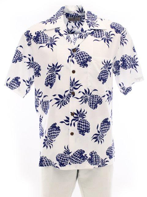 6838e5859 Pineapple Juice Pineapples White Rayon Men's Hawaiian Shirt ...