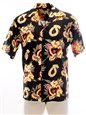 Pineapple Juice Ukulele Lei  Black Rayon Men's Hawaiian Shirt