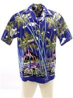 Pineapple Juice Hawaiian Palm Blue Rayon Men's Hawaiian Shirt