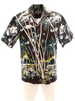Pineapple Juice Hawaiian Palm Brown Rayon Men's Hawaiian Shirt