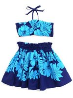 Good Times Hibiscus Blue Poly Cotton Girls Hula Skirt Set