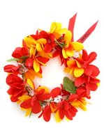 Red & Yellow Plumeria Headband (Haku Lei)