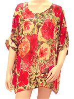 Kai Clothing Hibiscus Impressions Red Beach Coverups