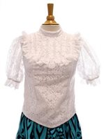 Good Times Lace-B White Poly Cotton Hawaiian Stand Collar Lace Blouse