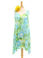 Two Palms Tropical blooming Turquoise Rayon Hawaiian Asymmetric Flare Short Dress