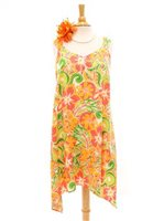 Two Palms Tropical blooming Orange Rayon Hawaiian Asymmetric Flare Short Dress