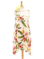Two Palms Sonic Beige Rayon Hawaiian Asymmetric Flare Short Dress