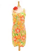 Two Palms Tropical blooming Orange Rayon Hawaiian Elastic Shoulder Short Dress