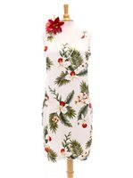 Two Palms Hawaiian Orchid White Rayon Hawaiian Elastic Shoulder Short Dress