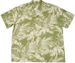 Paradise Found Tropical Jungle Olive Rayon Men's Hawaiian Shirt