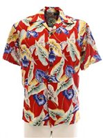 Pineapple Juice Anthurium & Leaf  Red Rayon Men's Hawaiian Shirt