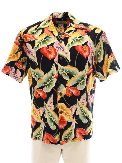 3b793a2f9 Pineapple Juice Anthurium & Leaf Black Rayon Men's Hawaiian Shirt ...
