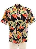 Pineapple Juice Anthurium & Leaf  Black Rayon Men's Hawaiian Shirt