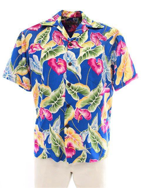 c7f1da4f Pineapple Juice Anthurium & Leaf Blue Rayon Men's Hawaiian Shirt ...