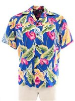 Pineapple Juice Anthurium & Leaf  Blue Rayon Men's Hawaiian Shirt