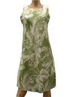Paradise Found Tropical Jungle Olive Rayon Hawaiian A-Line Tank Short Dress [40% OFF]