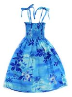 Two Palms Moonlight Scenic Blue Rayon Girls Hawaiian Summer Dress