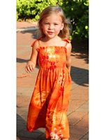 Two Palms Moonlight Scenic Orange Rayon Girls Hawaiian Summer Dress