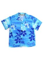Two Palms Moonlight Scenic Blue Rayon Boys Hawaiian Shirt
