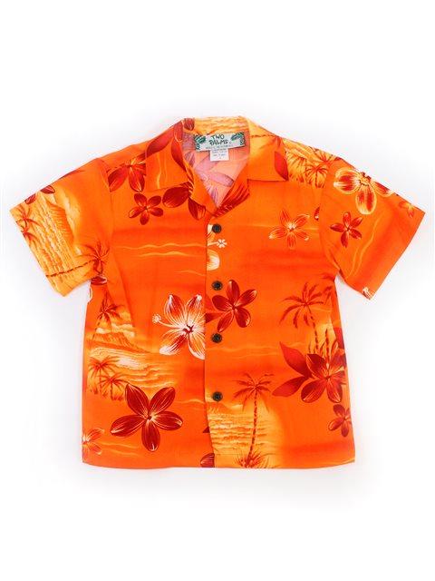 bd79618c1 Two Palms Moonlight Scenic Orange Rayon Boys Hawaiian Shirt ...