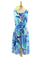 Two Palms Big Tiare Blue Hi-Low Dress