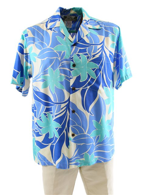 7cd5c8992f Two Palms Big Tiare Blue Rayon Men's Hawaiian Shirt | AlohaOutlet