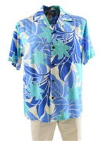 Two Palms Big Tiare Blue Rayon Men's Hawaiian Shirt