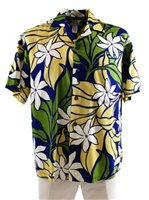 Two Palms Big Tiare Navy Rayon Men's Hawaiian Shirt