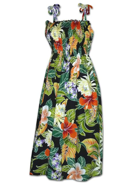eda79ef2 Pacific Legend Tropical Flowers Black Cotton Hawaiian Tube Midi Dress