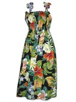 Pacific Legend Tropical Flowers Black Cotton Hawaiian Tube Midi Dress