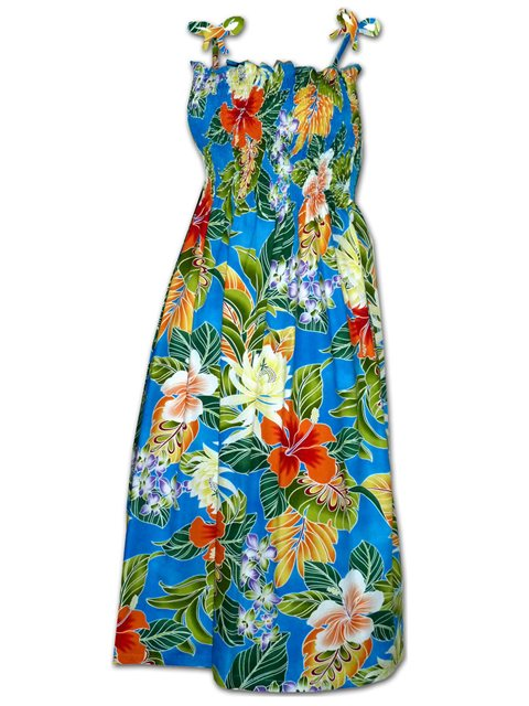 a29b0a53 Pacific Legend Tropical Flowers Blue Cotton Hawaiian Tube Midi Dress ...