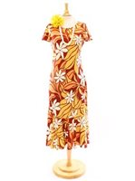Two Palms Big Tiare Red Rayon Hawaiian Long Dress