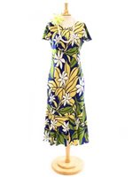 Two Palms Big Tiare Navy Rayon Hawaiian Long Dress