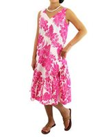 Royal Hawaiian Creations Hibiscus Panel Pink PolyCotton Hawaiian Sleeveless Flare Midi Dress
