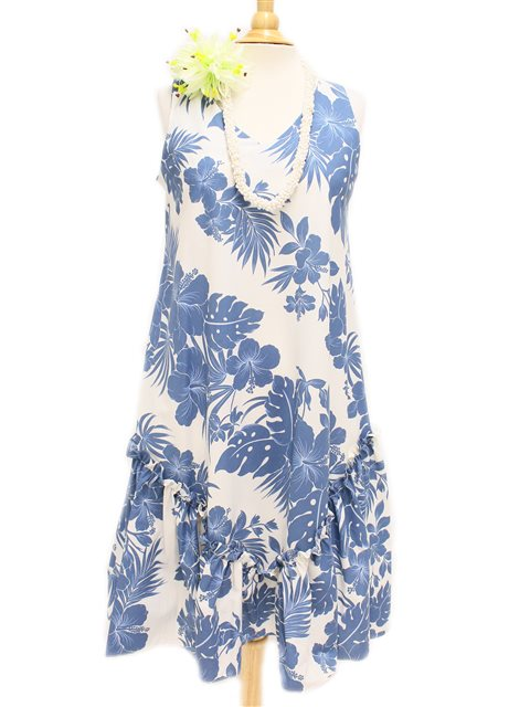 Hibiscus Panel Blue PolyCotton Hawaiian Sleeveless Flare Midi Dress