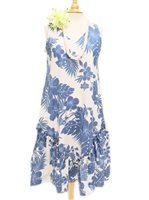 Royal Hawaiian Creations Hibiscus Panel Blue PolyCotton Hawaiian Sleeveless Flare Midi Dress