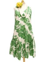 Royal Hawaiian Creations Hibiscus Panel Green PolyCotton Hawaiian Sleeveless Flare Midi Dress