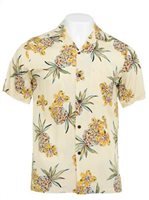 Two Palms Hale Kahiki Cream Rayon Men's Hawaiian Shirt