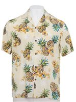 Two Palms Golden Pineapple Cream Rayon Men's Hawaiian Shirt